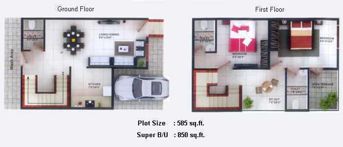 Floor plans for Row house layout plan